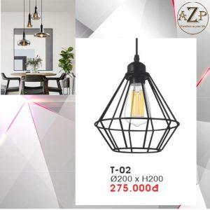 Đèn Thả Trần Trang Trí Nhập Khẩu Dòng Cao Cấp T02 / Size 20x20cm (RxC) - chưa bao gồm Bóng