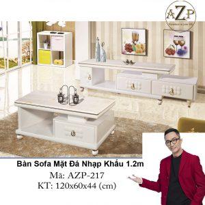 Bàn Sofa Mặt Đá Size 1.2m / 1 Ngăn Kéo / Dòng Cao Cấp - Hàng Nhập Khẩu AZP-T217