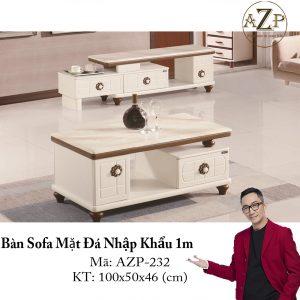 Bàn Sofa Mặt Đá Size 1.0m / 1 Ngăn Kéo / Dòng Cao Cấp - Hàng Nhập Khẩu AZP-T232-10