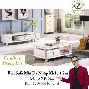 Bàn Sofa Mặt Đá Size 1.2m / 1 Ngăn Kéo / Dòng Cao Cấp - Hàng Nhập Khẩu AZP-T244