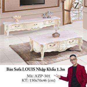 Bàn Sofa LOUIS Mặt Đá Size 1.3m / 2 Ngăn Kéo / Dòng Cao Cấp - Hàng Nhập Khẩu AZP-T301