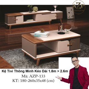 Kệ Tivi Mặt Kính Thông Minh Kéo Dài AZP-TV133 Size 1.8m -> 2.6m / Dòng Cao Cấp - Hàng Nhập Khẩu
