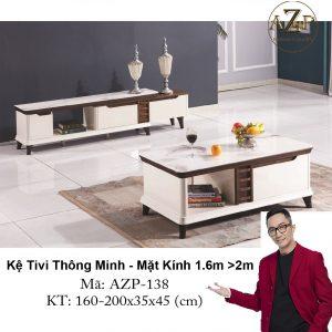 Kệ Tivi Mặt Kính Thông Minh Kéo Dài AZP-TV138 Size 1.6m -> 2.0m / Dòng Cao Cấp - Hàng Nhập Khẩu
