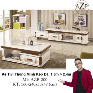 Kệ Tivi Mặt Đá Thông Minh Kéo Dài AZP-TV200 Size 1.6m -> 2,4m / Dòng Cao Cấp - Hàng Nhập Khẩu