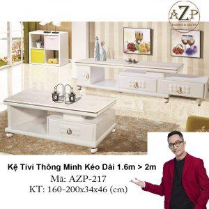 Kệ Tivi Mặt Đá Thông Minh Kéo Dài AZP-TV217 Size 1.6m -> 2.0m / Dòng Cao Cấp - Hàng Nhập Khẩu