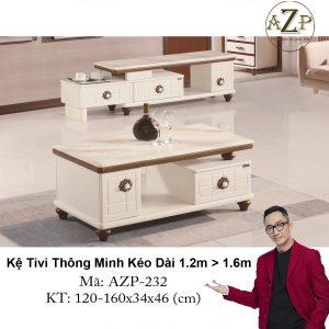 Kệ Tivi Mặt Đá Thông Minh Kéo Dài AZP-TV232 Size 1.2m -> 1.6m / Dòng Cao Cấp - Hàng Nhập Khẩu