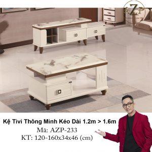 Kệ Tivi Mặt Đá Thông Minh Kéo Dài AZP-TV233 Size 1.2m -> 1.6m / Dòng Cao Cấp - Hàng Nhập Khẩu