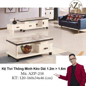 Kệ Tivi Mặt Đá Thông Minh Kéo Dài AZP-TV238 Size 1.2m -> 1.6m / Dòng Cao Cấp - Hàng Nhập Khẩu