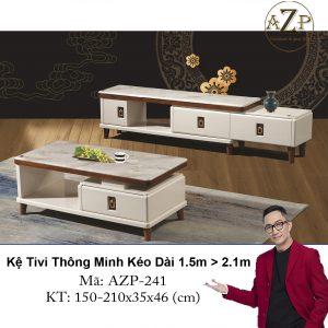 Kệ Tivi Mặt Đá Thông Minh Kéo Dài AZP-TV241 Size 1.5m -> 2.1m / Dòng Cao Cấp - Hàng Nhập Khẩu