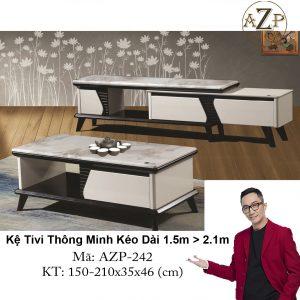 Kệ Tivi Mặt Đá Thông Minh Kéo Dài AZP-TV242 Size 1.5m -> 2.1m / Dòng Cao Cấp - Hàng Nhập Khẩu