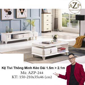 Kệ Tivi Mặt Đá Thông Minh Kéo Dài AZP-TV244 Size 1.5m -> 2.1m / Dòng Cao Cấp - Hàng Nhập Khẩu