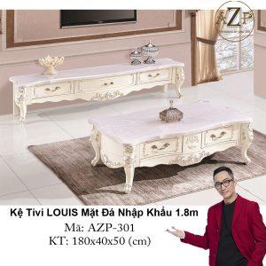 Kệ Tivi LOUIS Mặt đá AZP-TV301 Size 1.8m / 2 Ngăn Kéo + 2 Hộc Đứng / Dòng Cao Cấp - Hàng Nhập Khẩu