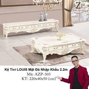 Kệ Tivi LOUIS Mặt đá AZP-TV303 Size 2.2m / 4 Ngăn Kéo / Dòng Cao Cấp - Hàng Nhập Khẩu