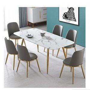 Bộ Bàn Ăn Luxury Mạ Vàng Siêu Phẩm của Năm - Kích Thước 1.2m x 80cm và 6 Ghế (Màu ghế ngẫu nhiên)
