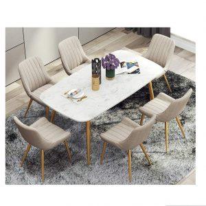 Bộ Bàn Ăn Luxury Mạ Vàng Siêu Phẩm của Năm BBDP-02 - Kích Thước 1.2m x 80cm và 6 Ghế (Màu ghế ngẫu nhiên)