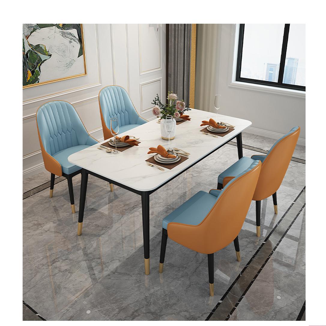 Bộ Bàn Ăn Luxury Chân Bọc Núm Đồng Siêu Phẩm của Năm BBDP-02 - Kích Thước 1.4m x 80cm và 4 Ghế Ăn - (Màu ghế ngẫu nhiên)